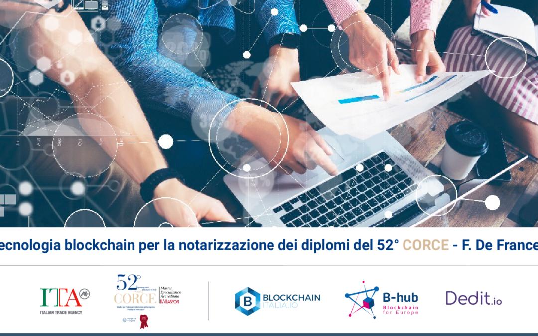 Utilizzo della tecnologia blockchain per la notarizzazione dei diplomi del 52° CORCE – F. De Franceschi